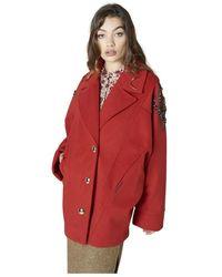 Silvian Heach Cappotto con inserto su spalla - Rojo