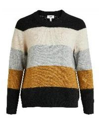 Object Nete L/s Knit Pullover Sc - Naturel