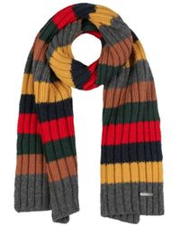 Stetson Scarf With Cashmere Stripes In Color - Zwart