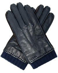 Paul Smith Distressed Leather Gloves - Blauw