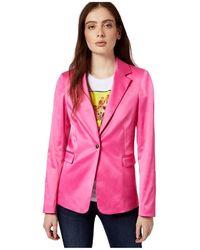 Liu Jo Long Blazer In Shiny Satin - Roze