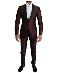 Dolce & Gabbana Single Breasted 3 Piece Martini Suit - Rood