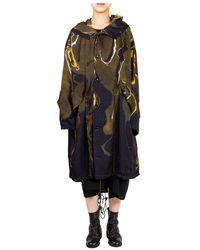 Y's Yohji Yamamoto Marble Pattern Hooded Coat - Giallo