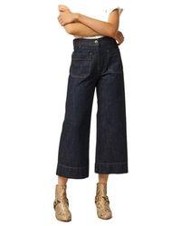 Sessun Seakey 7/8 flared raw jeans - Blu