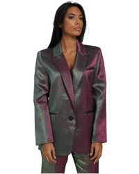 Isabelle Blanche Satin Jacket With Buttons Is20Fw-J221 - Bleu