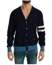 Dolce & Gabbana Striped Cardigan Sweater - Bleu