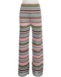 M Missoni Striped Wide Leg Pants - Roze