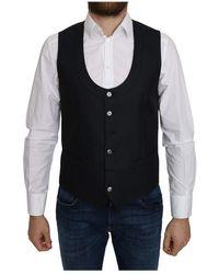 Dolce & Gabbana Silk Romb Pattern Formal Coat Vest - Blau
