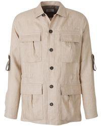 Brioni Cotton And Linen Safari Jacket - Naturel