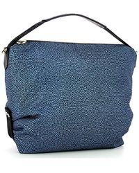 Borbonese Shoulder Hobo Bag Medium Azul