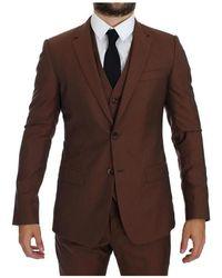 Dolce & Gabbana 3 piezas traje Slim Fit Marrón
