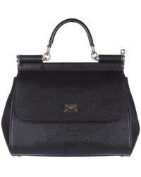 Dolce & Gabbana Women's Leather Handtas Shopping Tas Purse Sicily - Zwart