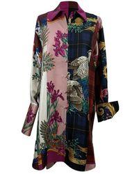 Ferragamo Patchwork Zijden Bedrukt Long Line Shirt - Meerkleurig