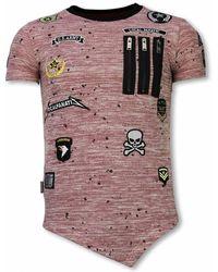 Local Fanatic Longfit Asymmetric Embroidery - T-shirt Patches - Roze