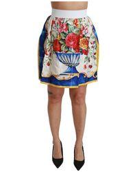 Dolce & Gabbana Vaas Van De Bloem High Waist Minirok Silk - Wit