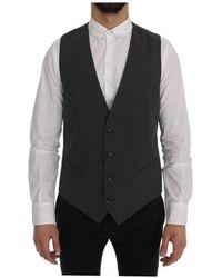 Dolce & Gabbana Personeel Cotton Striped Vest - Grijs