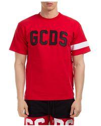 Gcds Short sleeve t-shirt crew neckline jumper logo - Rouge