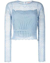 Alexander McQueen Crochet long-sleeve top - Azul