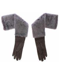 Dolce & Gabbana Mink fur lambskin suede leather gloves - Gris