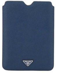 Prada Tweedehands Saffiano-tablethoes Van Kalfsleer - Blauw