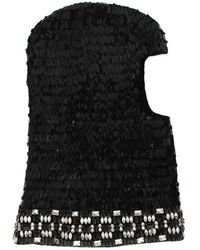 Dolce & Gabbana Knitted Wool Crystal Beaded Hood Scarf Hat - Zwart