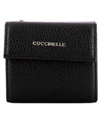 Coccinelle Small Metallic Soft Wallet - Zwart