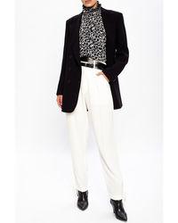 Isabel Marant Pantalones de pliegues-frente con los detalles de unión Blanco