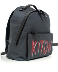 Kiton Leather and cordura rucksack Gris