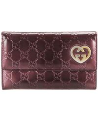 Gucci Heart Continental Patent Leather Wallet - Rosso