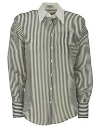 Brunello Cucinelli - Gestreept Gaas Overhemd - Lyst