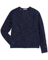 Saucony Crewneck sweater in glitter wool - K40214-07 - Bleu