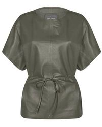 Mos Mosh Shirley leather blouse - Verde