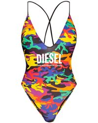DIESEL One-piece Swimsuit With Logo - Geel