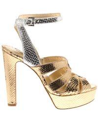 Michael Kors Winona Ankle Strap Metallic Snake - Geel