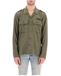 Amiri Cotton And Cashmere Military Shirt - Groen