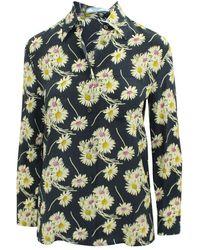 Prada Floral Print Silk Shirt - Giallo