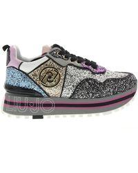 Liu Jo Sneakers Maxi Wonder Glitter - Zwart