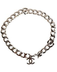 Chanel Vintage Metal Chunky Chain Necklace with CC Logo - Grau