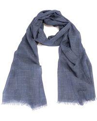 Brioni Linen mix scarf - Bleu
