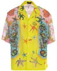 Versace Printed S/s Shirt - Geel