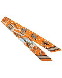 Hermès Tessuto Sciarpa Twilly Les Nouveaux Amoureux de Paris Seta - Arancione