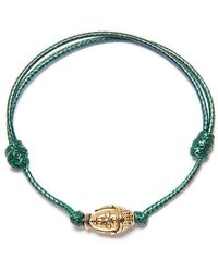Nialaya Dark Green String Armband Met Gold Buddha - Groen