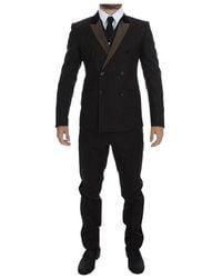 Dolce & Gabbana Striped Wool Slim 3 Piece Suit Tuxedo - Braun