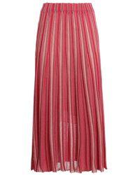 Paolo Fiorillo Capri Lurex pleated midi skirt - Rosso
