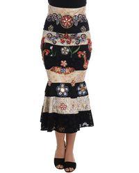 Dolce & Gabbana Crystal Carretto Lace Skirt - Nero