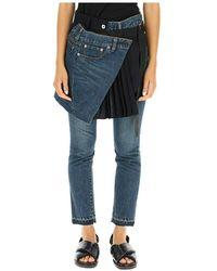 Sacai Jeans with skirt - Bleu