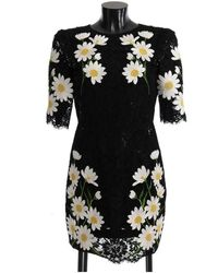 Dolce & Gabbana Floral Lace Chamomile Sicily Dress - Nero