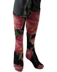 Dolce & Gabbana Bloemen Tulip Nylon Socks - Zwart
