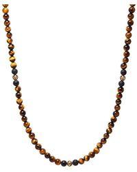 Nialaya Vorbestellung: Herren Perlenkette mit braunem Tigerauge, mattem Onyx und Gold