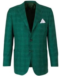 Kiton Cashmere, Silk And Linen Blazer - Groen